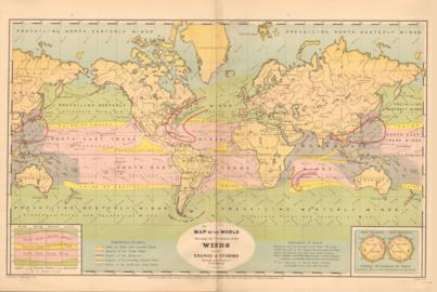 Map Of The World Showing The Circulation Of Winds And The Course Of Storms