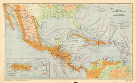 Mexico Central America And West Indies Political And Economic Map