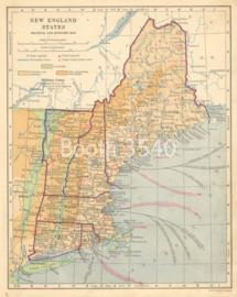 New England States Political And Economic Map