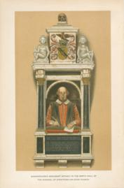 Shakespeares Monument Affixed To The North Wall Of The Chancel Of Stratford-On-Avon Church